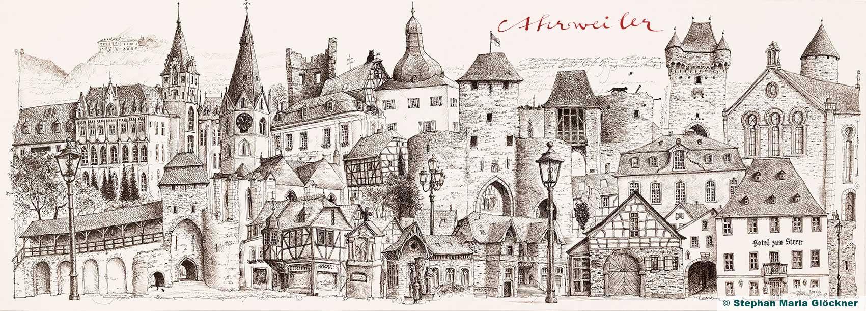 Zeitreise Ahrtal Ahrweiler in schöner Zeichnung von Stephan Maria Glöckner_2019_01_25