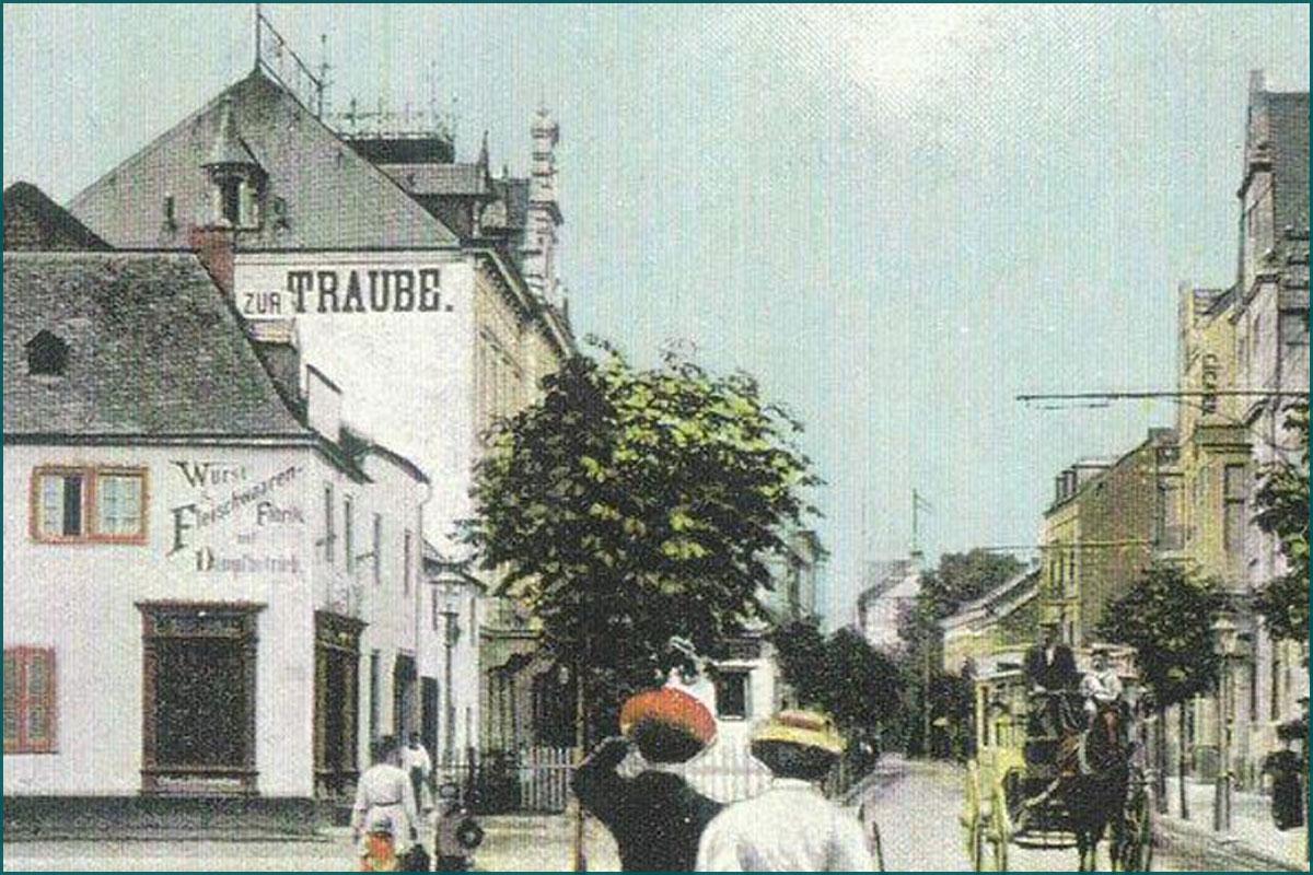 Zeitreise Ahrtal Bad Neuenahr Hauptstrasse Ecke Jesuitenstrasse damals und heute
