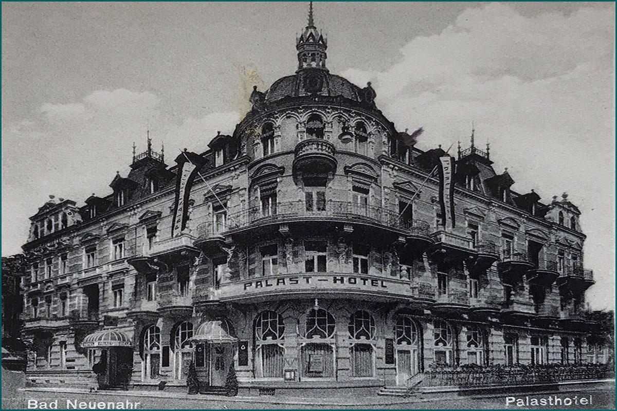 Zeitreise durchs Ahrtal Bad Neuenahr Palasthotel Poststrasse Ecke Kreuzstrasse vorher-nachher 01