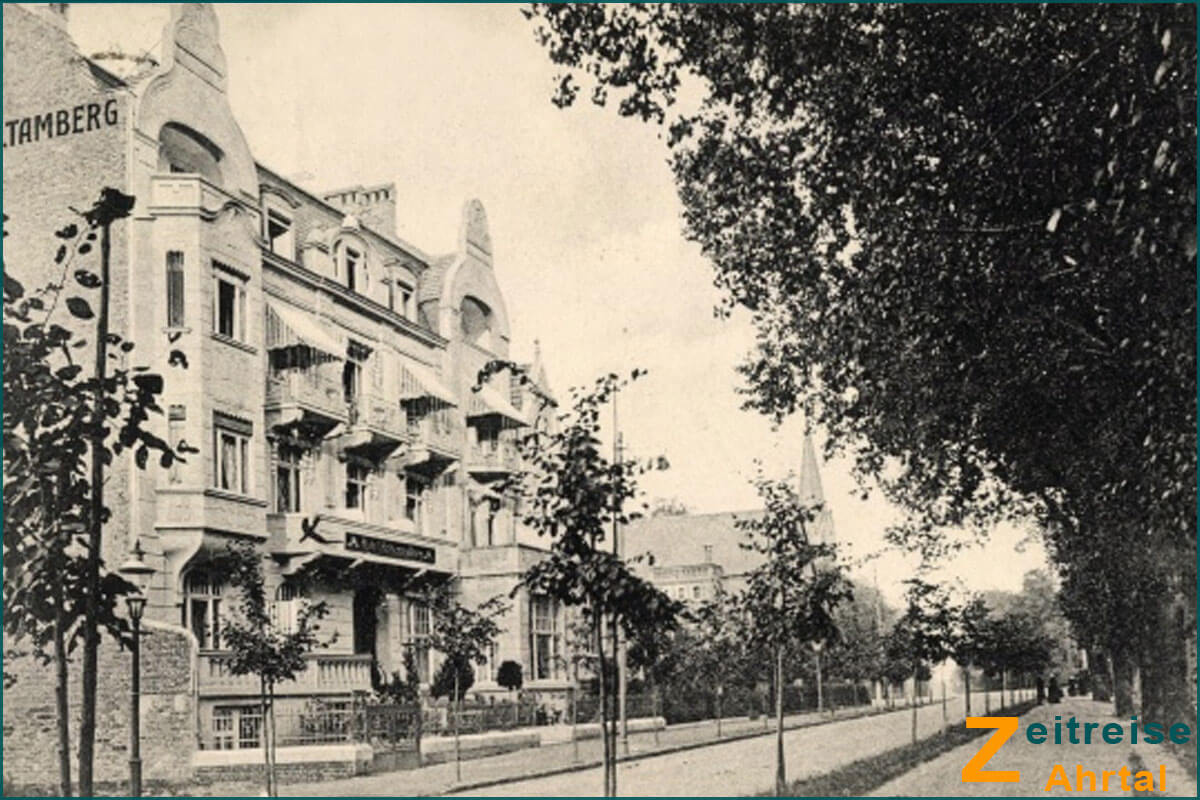Zeitreise Ahrtal | Bad Neuenahr Georg Kreuzbergstrasse Knappschaft Hotel Hohenzollern vorher um 1910