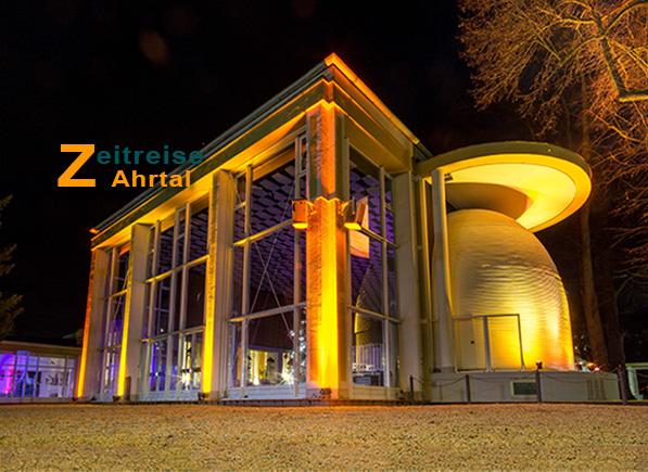 Zeitreise Ahrtal Kurpark Bad Neuenahr historische Bauten mit Lesesaal und Konzertmuschel