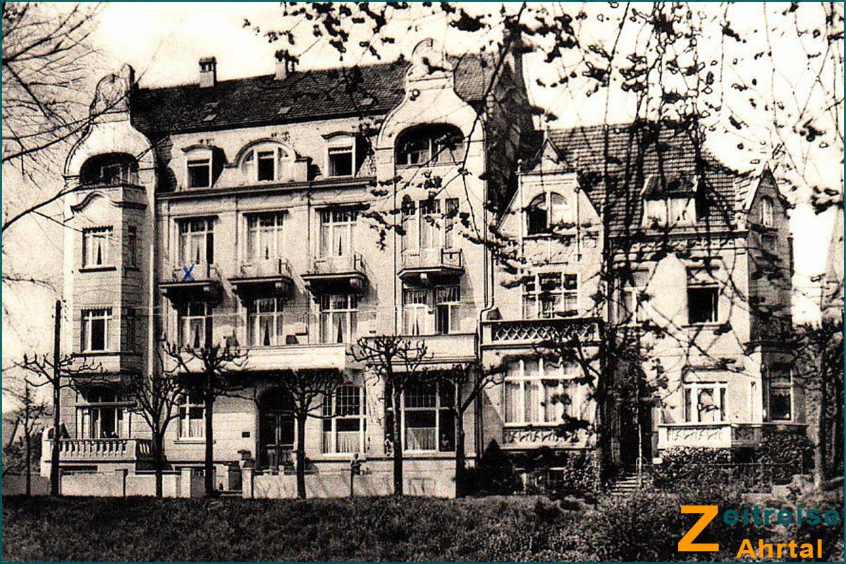 Zeitreise Ahrtal Bad Neuenahr Georg Kreuzbergstrasse Knappschaft Hotel Hohenzollern vorher um 1910